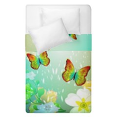 Flowers With Wonderful Butterflies Duvet Cover (single Size)