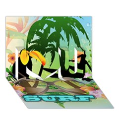 Surfing I Love You 3D Greeting Card (7x5)