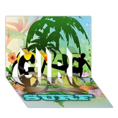 Surfing Girl 3d Greeting Card (7x5)