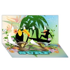 Surfing Twin Hearts 3D Greeting Card (8x4)