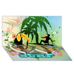 Surfing Twin Heart Bottom 3d Greeting Card (8x4)