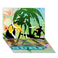 Surfing Clover 3d Greeting Card (7x5)