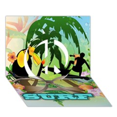 Surfing Peace Sign 3d Greeting Card (7x5)
