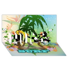 Surfing HUGS 3D Greeting Card (8x4)