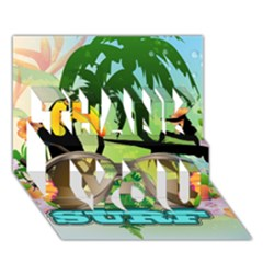 Surfing Thank You 3d Greeting Card (7x5)