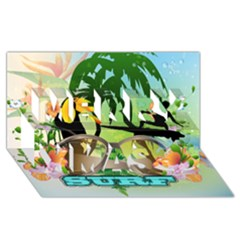 Surfing Merry Xmas 3d Greeting Card (8x4)