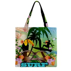 Surfing Zipper Grocery Tote Bags