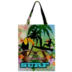 Surfing Zipper Classic Tote Bags
