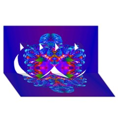 Abstract 5 Twin Hearts 3d Greeting Card (8x4)