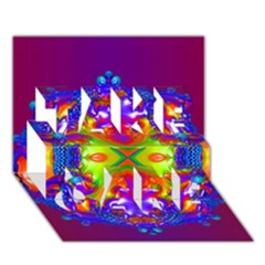 Abstract 6 TAKE CARE 3D Greeting Card (7x5)