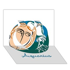 Aquarius Star Sign Heart 3D Greeting Card (7x5)