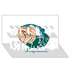 Aquarius Star Sign Merry Xmas 3D Greeting Card (8x4)