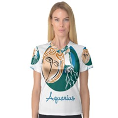 Aquarius Star Sign Women s V-Neck Sport Mesh Tee