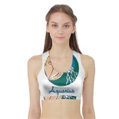 Aquarius Star Sign Women s Sports Bra with Border