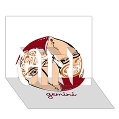 Gemini Star Sign Girl 3d Greeting Card (7x5)
