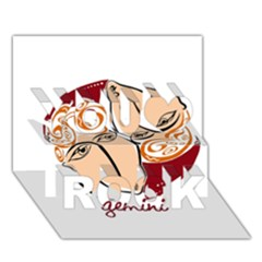 Gemini Star Sign You Rock 3D Greeting Card (7x5)