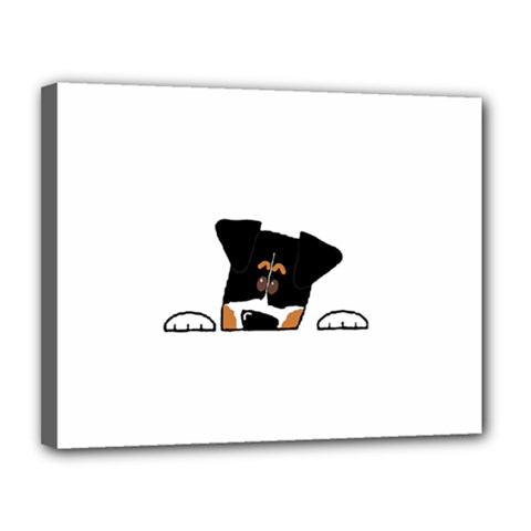 Peeping Bernese Mountain Dog Canvas 14  x 11