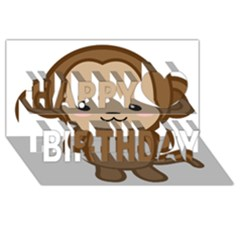 Kawaii Monkey Happy Birthday 3D Greeting Card (8x4)