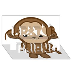 Kawaii Monkey Best Friends 3D Greeting Card (8x4)