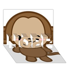 Kawaii Monkey HOPE 3D Greeting Card (7x5)