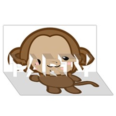 Kawaii Monkey PARTY 3D Greeting Card (8x4)