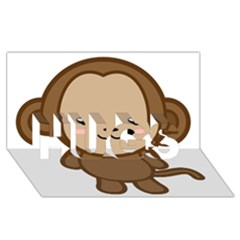Kawaii Monkey Hugs 3d Greeting Card (8x4)