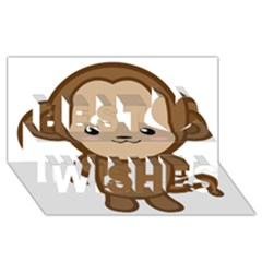 Kawaii Monkey Best Wish 3D Greeting Card (8x4)
