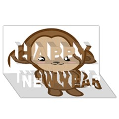 Kawaii Monkey Happy New Year 3D Greeting Card (8x4)