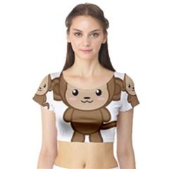 Kawaii Monkey Short Sleeve Crop Top