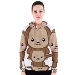 Kawaii Monkey Women s Zipper Hoodies