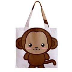 Kawaii Monkey Zipper Grocery Tote Bags
