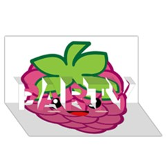 Raspberry Party 3d Greeting Card (8x4)