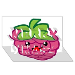 Raspberry Merry Xmas 3D Greeting Card (8x4)