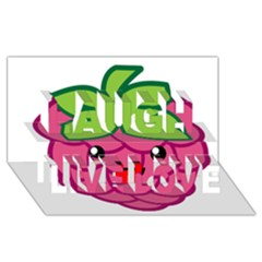 Raspberry Laugh Live Love 3D Greeting Card (8x4)