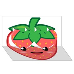 Kawaii Strawberry Twin Hearts 3d Greeting Card (8x4)
