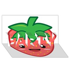 Kawaii Strawberry PARTY 3D Greeting Card (8x4)
