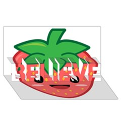 Kawaii Strawberry Believe 3d Greeting Card (8x4)