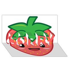 Kawaii Strawberry SORRY 3D Greeting Card (8x4)