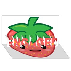 Kawaii Strawberry ENGAGED 3D Greeting Card (8x4)