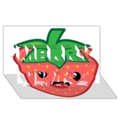 Kawaii Strawberry Merry Xmas 3d Greeting Card (8x4)