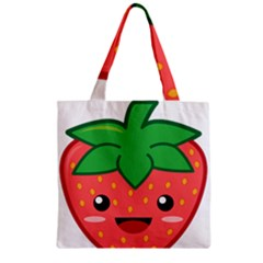 Kawaii Strawberry Zipper Grocery Tote Bags