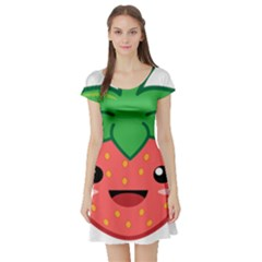 Kawaii Strawberry Short Sleeve Skater Dresses
