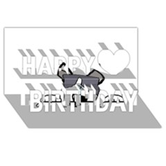 Peeping Siberian Husky Happy Birthday 3D Greeting Card (8x4)