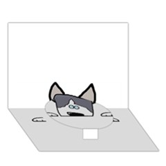 Peeping Siberian Husky Circle Bottom 3D Greeting Card (7x5)