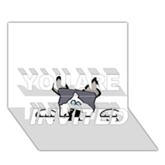 Peeping Siberian Husky YOU ARE INVITED 3D Greeting Card (7x5)