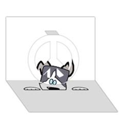 Peeping Siberian Husky Peace Sign 3D Greeting Card (7x5)