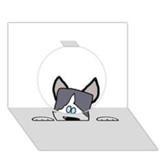 Peeping Siberian Husky Circle 3d Greeting Card (7x5)