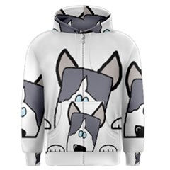 Peeping Siberian Husky Men s Zipper Hoodies