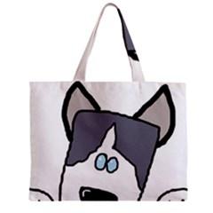Peeping Siberian Husky Zipper Tiny Tote Bags