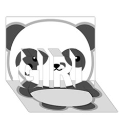 Kawaii Panda Girl 3d Greeting Card (7x5)